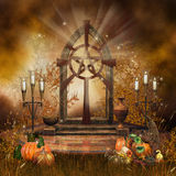 Gothic altar with cornucopia. Gothic altar with candles and cornucopia Royalty Free Stock Photography
