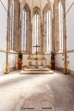 Gothic apse of the Santo Agostinho da Graca church with a tomb on the ground. Royalty Free Stock Image