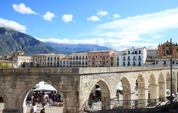 Gothic aqueduct in Sulmona town, Italy royalty free stock image