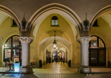 Gothic arcades of Cloth Hall on Main Market Square in Krakow by night Stock Photography