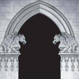 Gothic arch with gargoyles hand drawn vector illustration. Frame or print design Royalty Free Stock Photo
