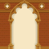 Gothic arch and wall Stock Images