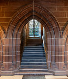 Gothic arched doorway inside Cathedral Stock Image