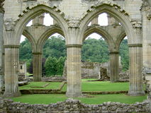 Gothic arches. In the ruins of the Rievaulx Abbey, England royalty free stock photo