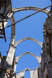 Gothic Arches in Ruins of Carmo Convent in Lisbon Royalty Free Stock Photo