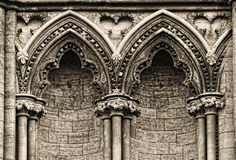 Gothic arches at the side of Ely Cathedral, Royalty Free Stock Photography