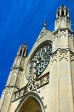 Gothic Architecture in blue sky. This picture was taken at a church in Indianapolis. Gothic architecture is a style of architecture which flourished during the Royalty Free Stock Photography