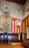 Gothic architecture in city hall of  Barcelon Stock Image