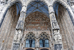 Gothic architecture - details. The main portal of Ulm Minster, one convincing example of Gothic church architecture in Germany Royalty Free Stock Image