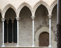 Gothic architecture gallery dated 15th century. In palace Generalitat de Catalunya. Barcelona Stock Photo