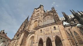 The gothic architecture and interior of St. Vitus Cathedral the largest and most important church located in Prague. Castle stock video footage