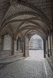 Gothic archway in Mons Town Hall, Belgium Royalty Free Stock Images