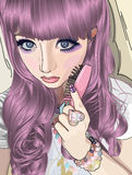 Gothic babe. Cute but enigmatic teen with bright purple hair Stock Images