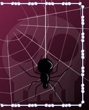 Gothic background. Abstract background made with bones and skull and a spider in its web. A gothic theme in a cartoon version Stock Photos