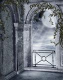 Gothic balcony. With rose vines Stock Images