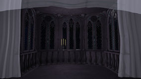 Gothic balcony in old castle 3d render background Stock Photography