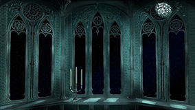 Gothic balcony in old castle 3d render background Stock Image