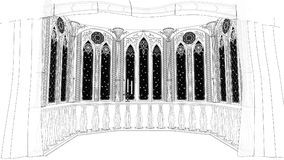 Gothic balcony in old castle 3d render illustration background Stock Images