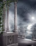 Gothic balcony with vines. And cobwebs stock illustration