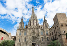 The gothic Barcelona Cathedral Holy Cross and Saint Eulalia Stock Image