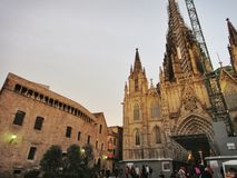 The gothic Barcelona Cathedral Holy Cross and Saint Eulalia Royalty Free Stock Image