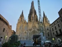The gothic Barcelona Cathedral Holy Cross and Saint Eulalia Stock Photography