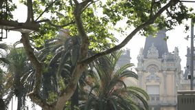 Gothic Barcelona Cathedral. On a sunny spring or summer day, Spain stock footage