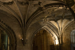 Gothic basement ceiling archs Royalty Free Stock Images