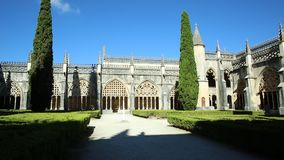 Gothic Batalha Monastery. Portugal, Batalha. Gothic towers and arches of Dominican convent of Batalha Monastery, one of the best examples of Gothic architecture stock footage