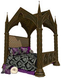 Gothic bed. 3D render of a fancy gothic bed stock illustration