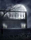 Gothic Bench With Candles Royalty Free Stock Photo