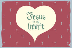 Gothic Bible lettering. Christian art. Jesus in my heart. vector vintage card heart retro Royalty Free Stock Photo