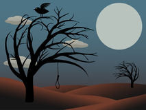 Gothic Bird Sits creepy curvy tree noose moon. Night scene scary trees  atop reddish brown hills, full moon, single bird and empty noose hanging from tree Royalty Free Stock Photo