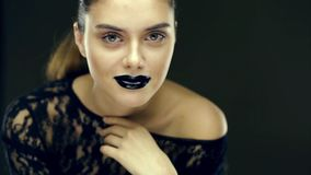 Gothic black lips beauty stock video