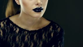 Gothic black lips beauty stock footage
