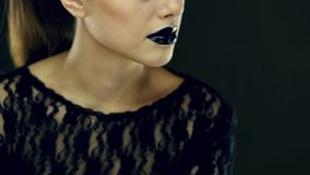 Gothic black lips beauty stock video footage
