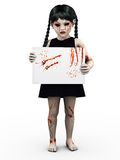 A gothic blood covered small girl holding sign. Royalty Free Stock Photo