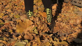 Gothic boots rake autumn leaves. After kick. stock video