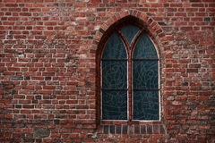 Gothic brick wall with a window Royalty Free Stock Photography