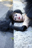 Gothic bride. In black wedding dress and veil Royalty Free Stock Photos