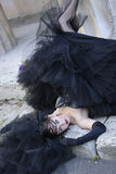 Gothic bride. In black wedding dress and veil Royalty Free Stock Image