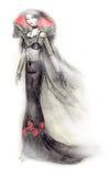 Gothic Bride Fashion Illustration. Fashion illustration featuring a gothic bride with hat and voile Royalty Free Stock Photo