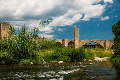 Gothic bridge in Besalu Royalty Free Stock Image