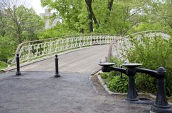 Gothic Bridge Central Park. The Gothic Bridge and drinking water fountains on the upper West Side of Central Park in New York City Royalty Free Stock Photos