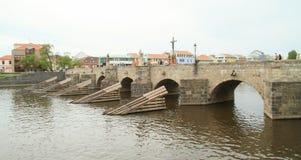 Gothic bridge in town Pisek Stock Photos