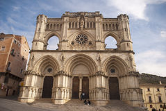 Gothic building of Cathedral in Cuenca Stock Images
