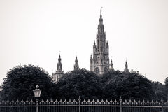 Gothic building tower of Vienna city hall Royalty Free Stock Images
