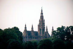 Gothic building tower of Vienna city hall Stock Photo