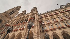 Gothic building of Vienna City Hall. Wiener Rathaus. Gothic building of Vienna City Hall. Wiener Rathaus stock footage