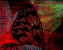 Gothic Butterfly Wing. Black and red grunge butterfly wing Stock Photography